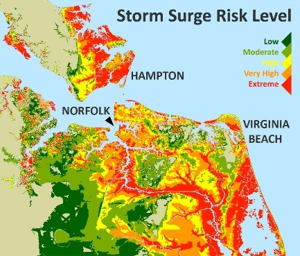 As climate change worsens, coastal Virginia becomes increasingly vulnerable to storm surge.