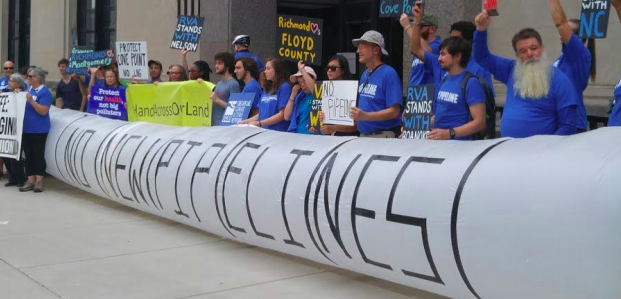 Protestors take a stand against new pipelines in Virginia.