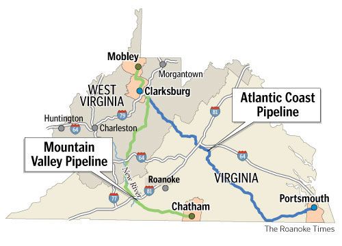 The proposed new Virginia pipelines would transport fracked-gas across the state.