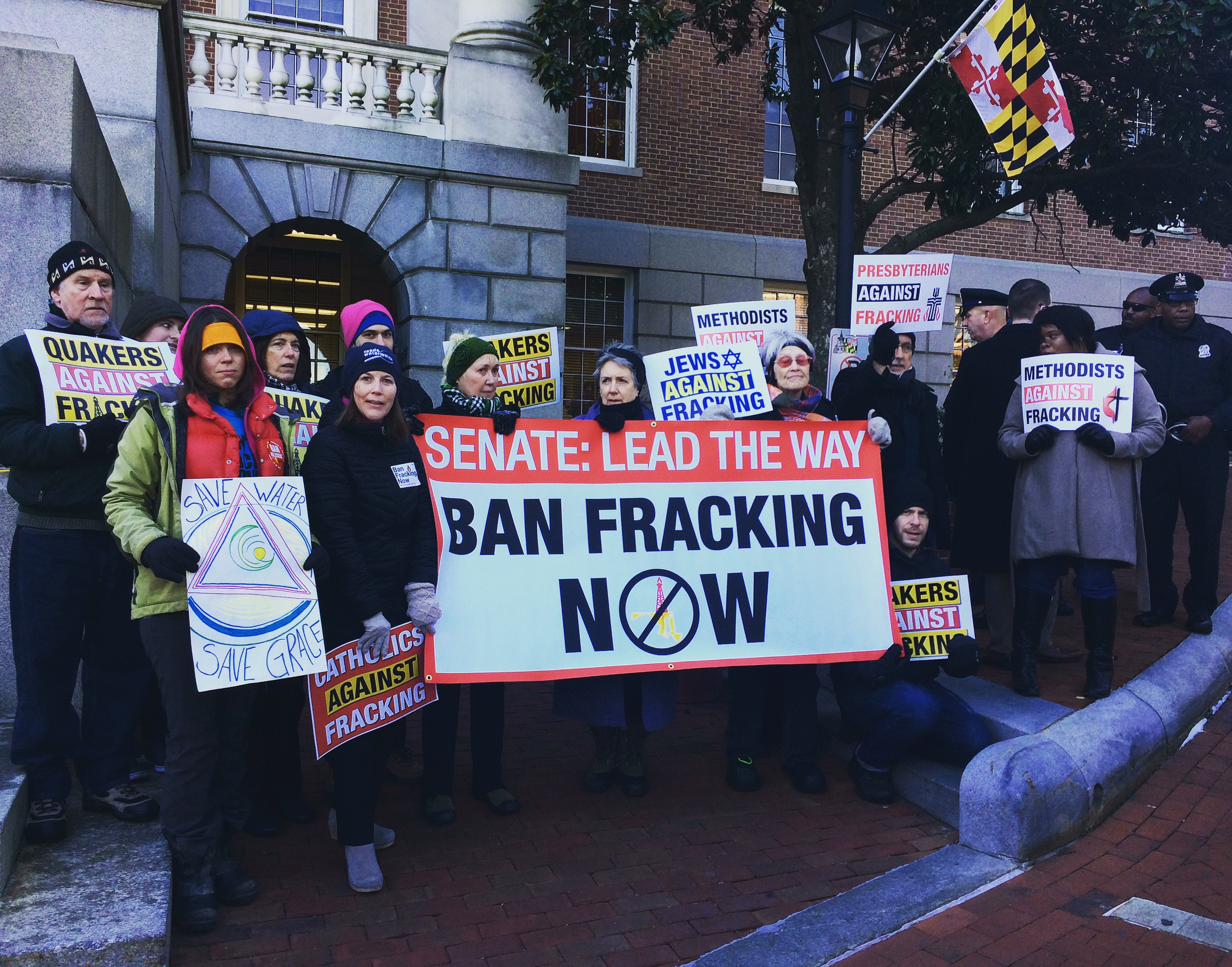 Various groups come together to protest fracking.