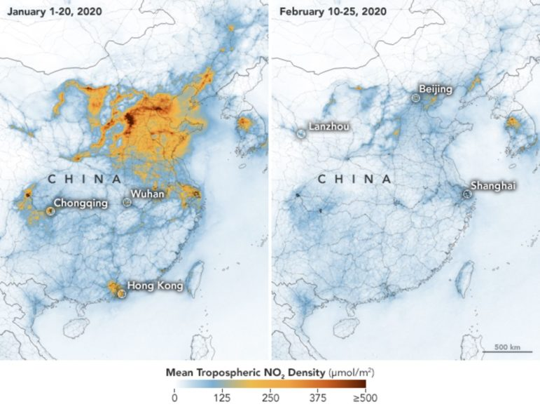 two color-coded maps showing a dramatic reduction in NO2 pollution over industrial northeastern China