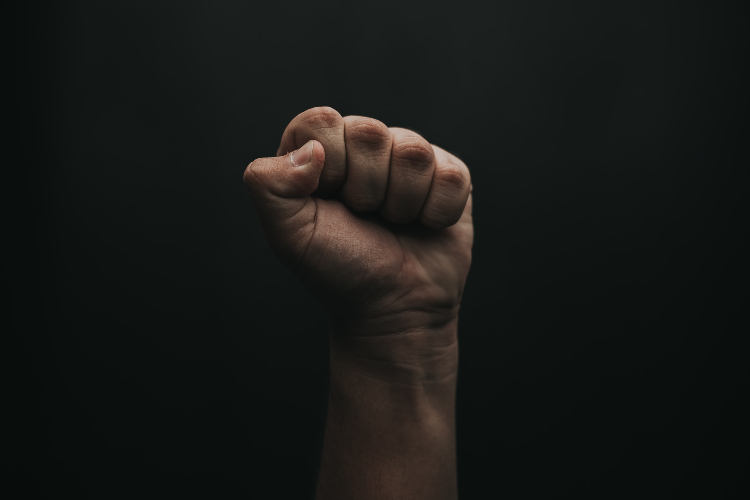 clenched fist raised in air against dark background